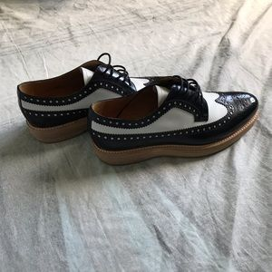 Church's Black And White Platform Leather Brogues